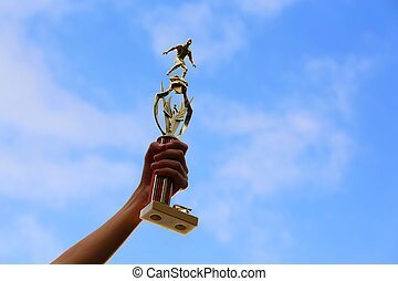 Soccer Trophy - A close up view of a soccer trophy being...