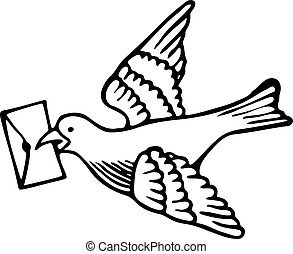Messenger Dove - Simple black and white line drawing of a...