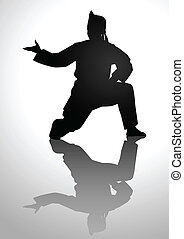 Pencak Silat - Silhouette illustration of a man in pencak...