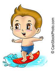 Surfer - Cute cartoon illustration of a surfer