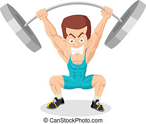 Weightlifter - Caricature illustration of a weightlifter