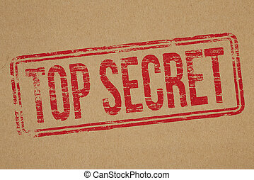 Top Secret - Top secret rubber stamp impression on brown...
