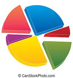 color 3d pie chart vector illustration