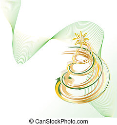 Christmas tree - Shiny Gold Christmas Contemporary Tree...