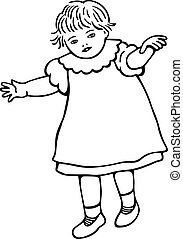 Little Toddler Girl - Simple black and white line drawing of...