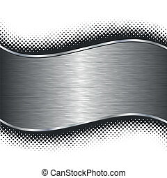 Brushed metal halftone borders - Brushed silver metal...