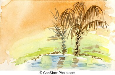 Oasis - An original watercolor painting of a desert's...