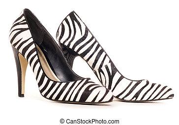 zebra, patrón, alto, tacón, zapatos, corte,...