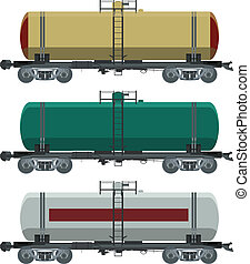 Cistern car - Vector image of collection of cistern cars