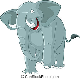 Elephant - Vector image of big funny cartoon elephant