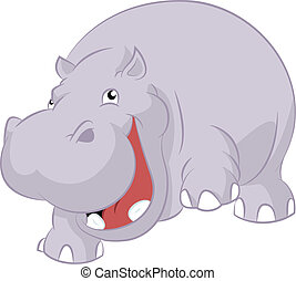 Hippopotamus - Vector image of big fat cartoon hippopotamus...
