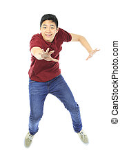 Jumping Teenager - A teenager jumping and reaching out for...