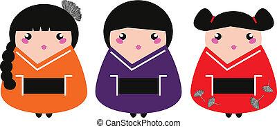 Cute colorful Geisha set isolated on white - Colorful Geisha...