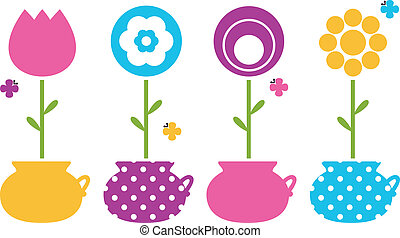 Cute spring flowers in flower pots isolated on white -...