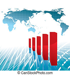 world economy growth chart vector illustration - base map:...