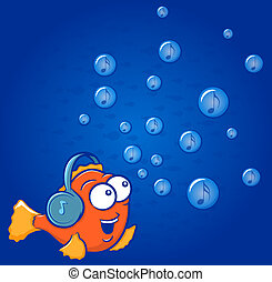 Fish Music - Cute gold fish cartoon wearing headphones with...