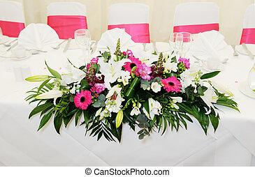 Wedding reception flowers - Closeup of wedding reception...