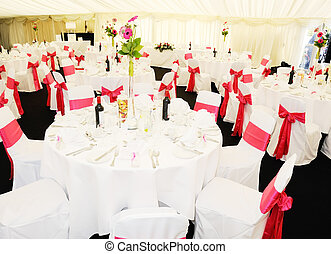 Wedding reception tables - Wedding reception inside marquee...
