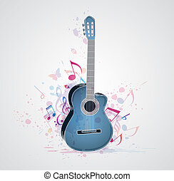 Background with blue guitar