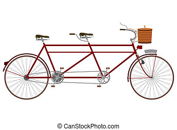 Vintage tandem bicycle with picnic basket on a white...