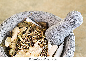 Natural Stone Pestle used for crushing Chinese Herbs -...