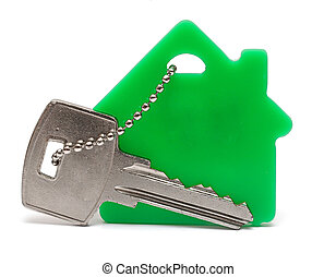 house keys and Keychain on white background