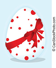 Funny eggs with a red bow