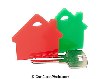 red with green houses and key, on a white background