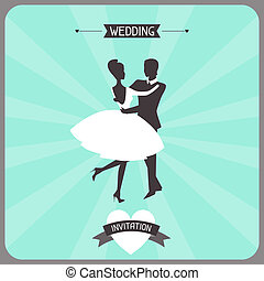 Wedding invitation retro card.