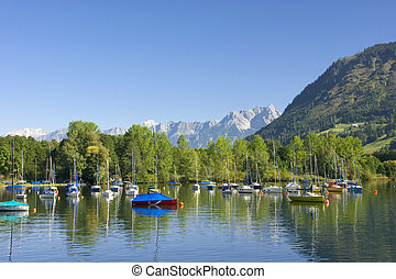 lake zell am see - sailing ships in the lake of Zell am See...