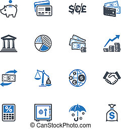 Finance Icons - Blue Series - Set of 16 finance icons great...