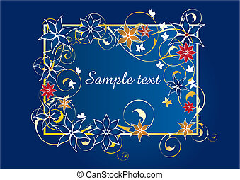 Beautiful blue floral frame
