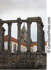 Roman Temple in Evora, Portugal - Ruins of the RomanTemple...