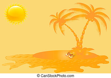 Sea,Sun and Palm Tree  Banner