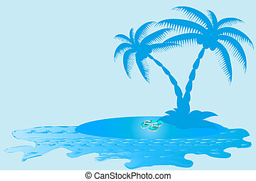 Sea,Sand and Palm Tree  Banner