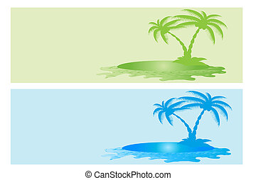 Colorful Sea,Sand and Palm Banner