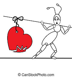 ant with broken heart