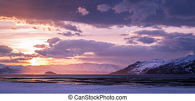 Alta Fjord - A lovely sunset at coast in Northern Norway....