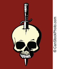 Skull and Dagger - This is a vector illustration or a skull...