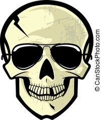 Skull Wearing Sun Glasses - This is a vector illustration of...