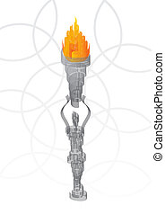 Abstract torch - Abstract statue holding the flaming torch...