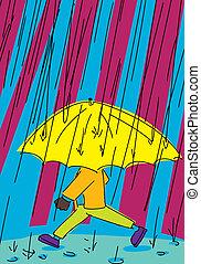 Person Walking in Rain