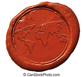 world map sign on wax seal