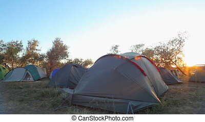 Tent camp in the first rays of sun