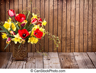 Spring flowers in a vase - Spring flowers tulips and...