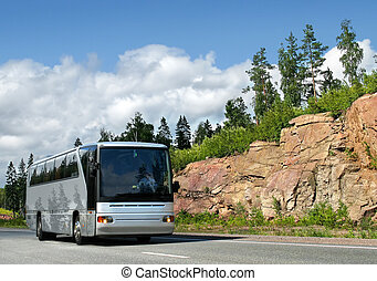 bus on highway - tourist bus on highway Scandinavia