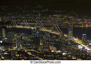 San Francisco Oakland Bay Bridge at Night - San Francisco...