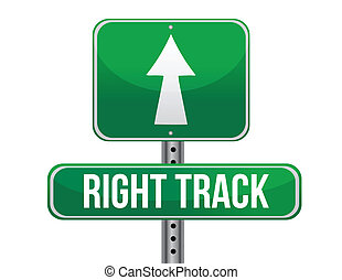 right track road sign illustration design over a white...