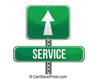 service road sign illustration design