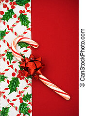 Christmas Border - Candy cane, holly berries and leaf border...